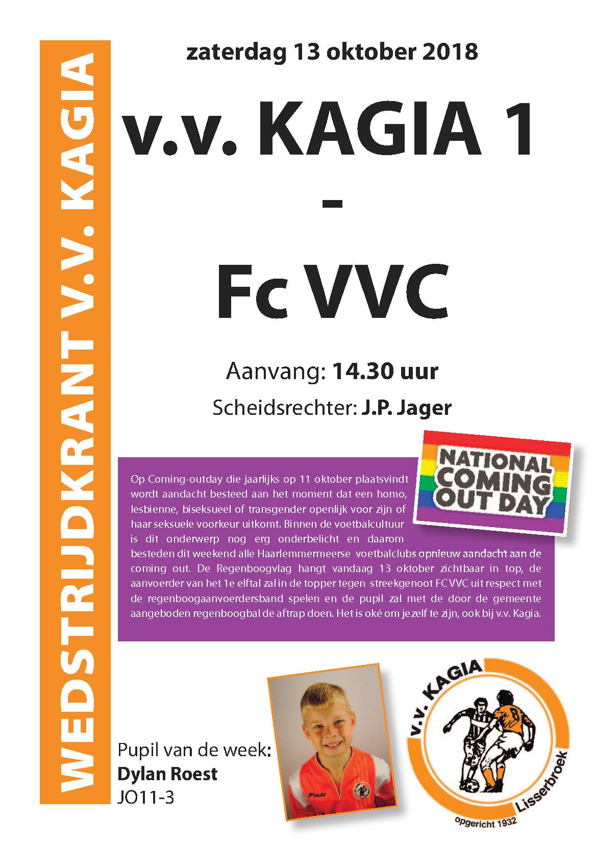 Wedstrijdkrantje | v.v. Kagia 1 – Fc VVC 1