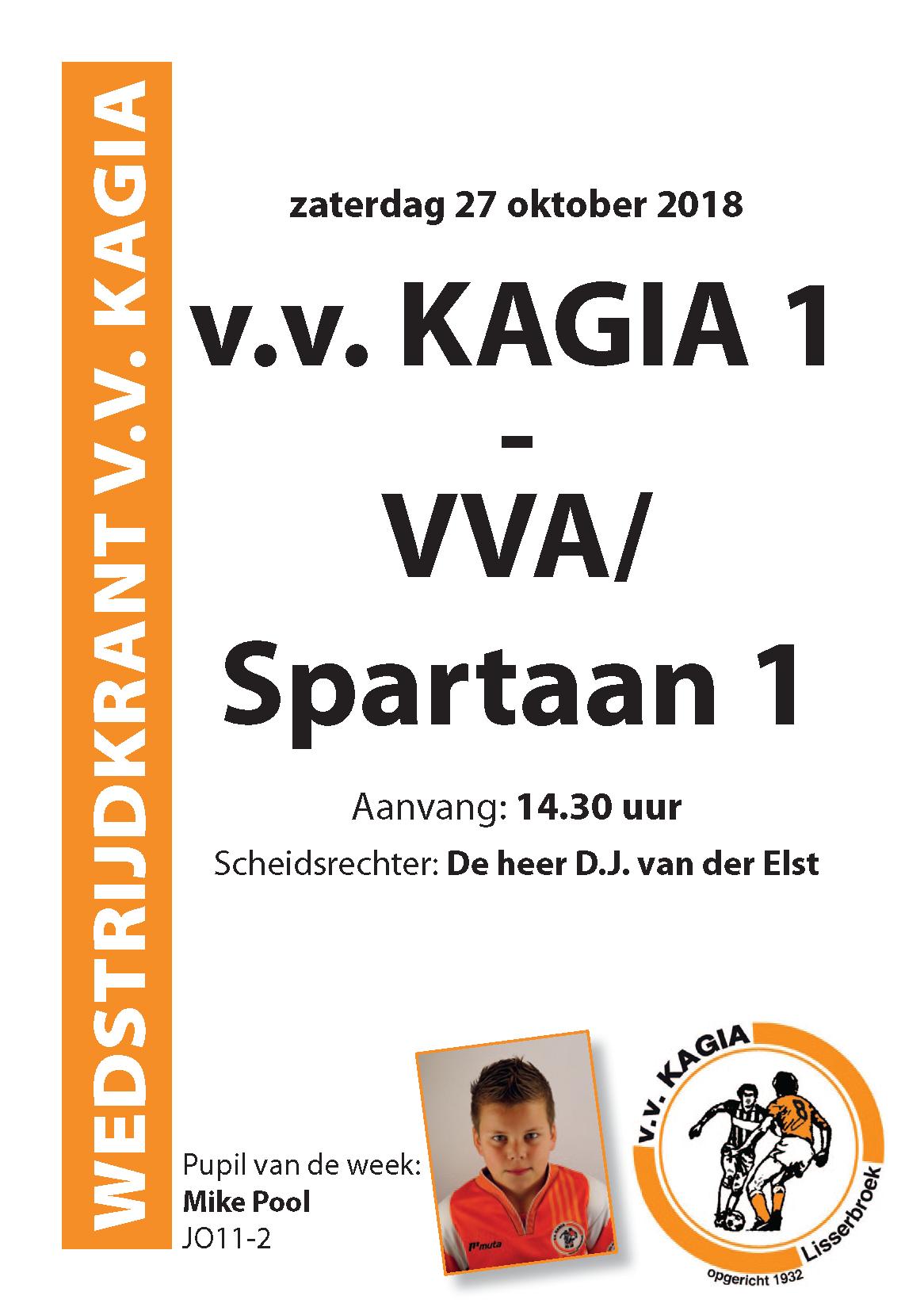 Wedstrijdkrantje | v.v. Kagia 1 – VVA/Spartaan 1