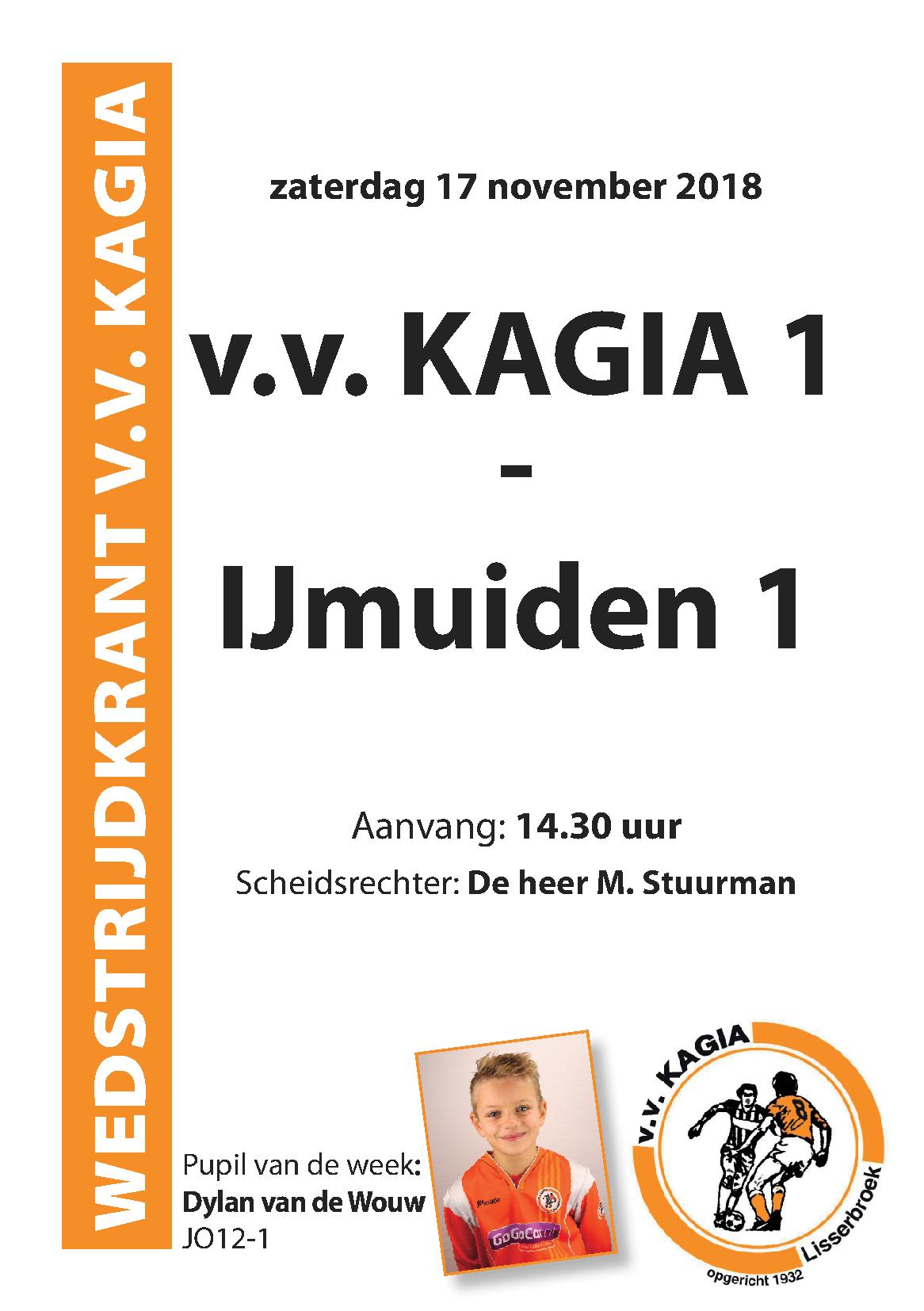 Wedstrijdkrantje | v.v. Kagia 1 – IJmuiden vv. 1