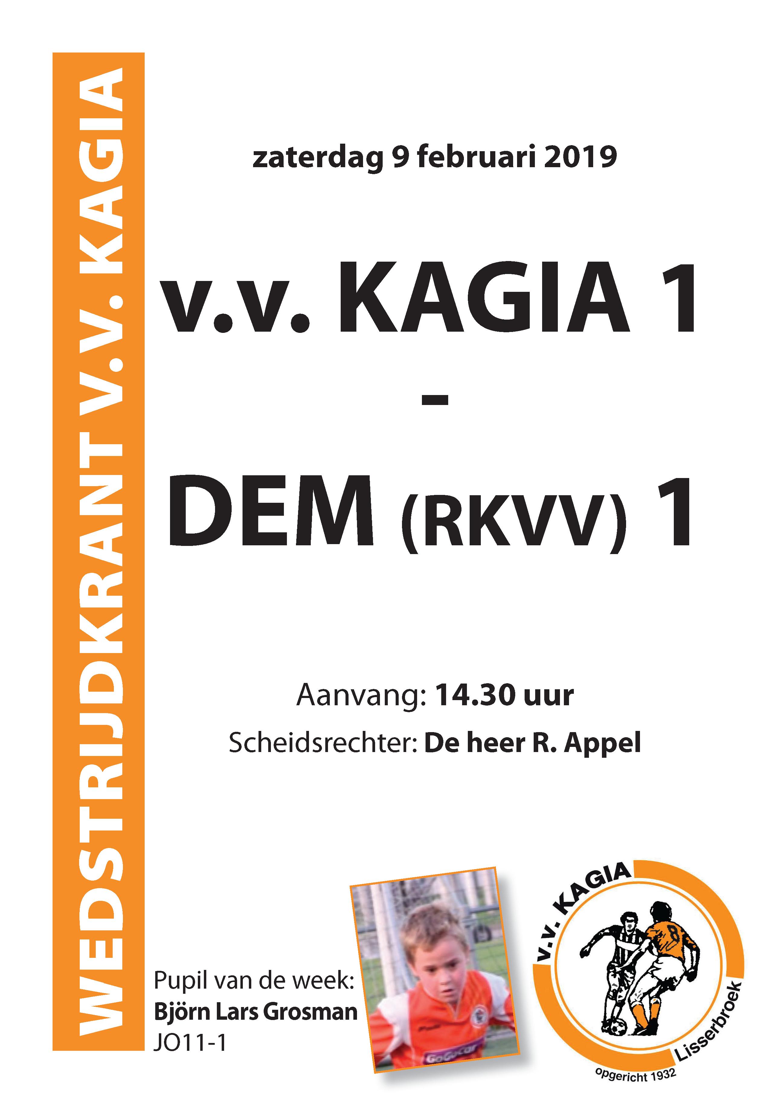 Wedstrijdkrantje | v.v. Kagia 1 – DEM (RKVV) 1