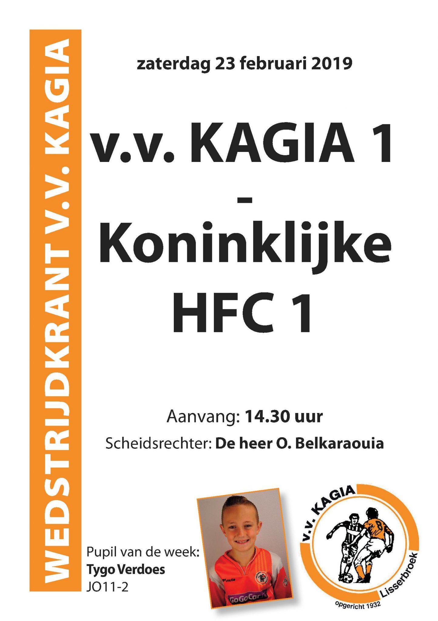Wedstrijdkrantje | v.v. Kagia 1 – Koninklijke HFC 1