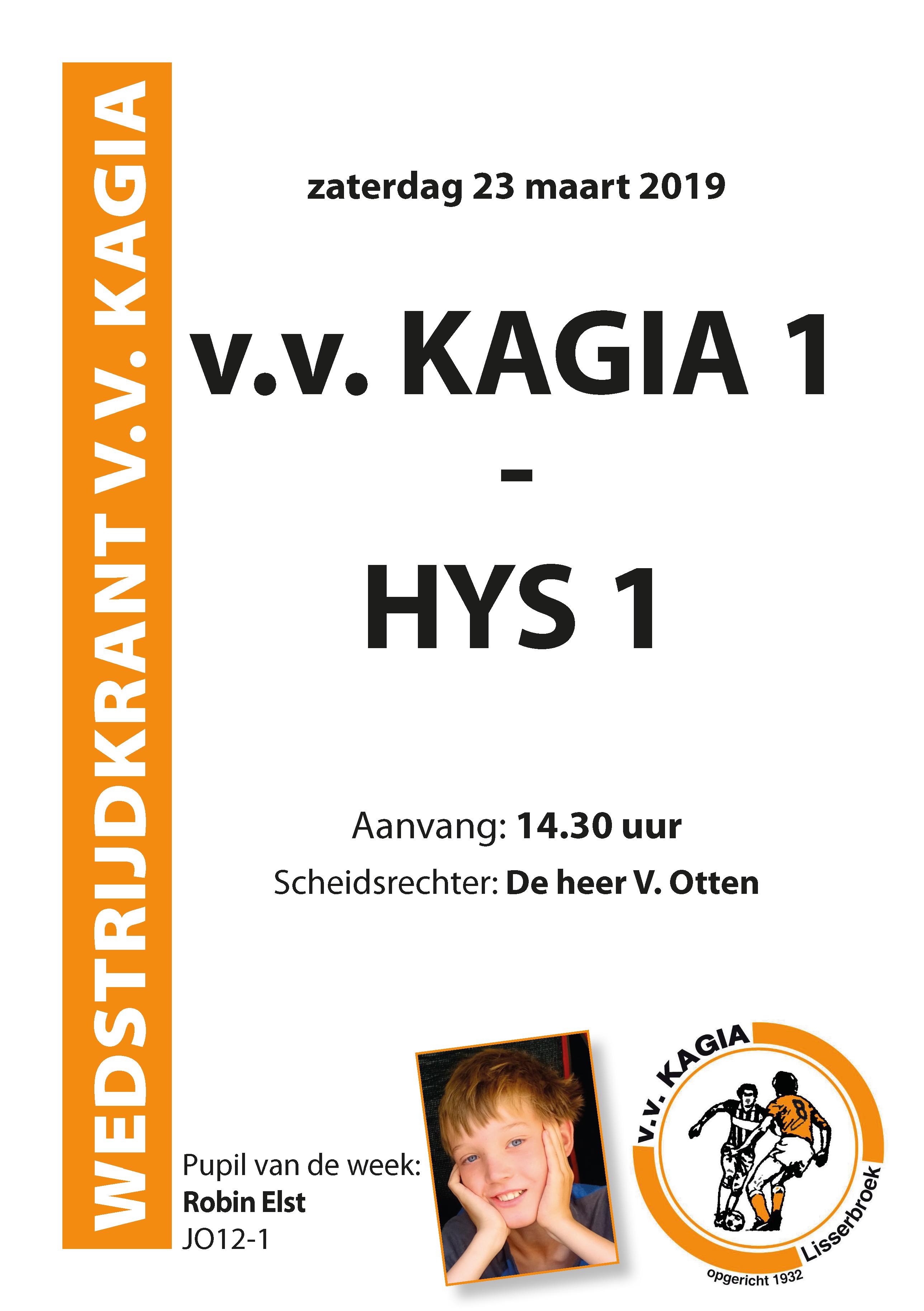 Wedstrijdkrantje | v.v. Kagia 1 – HYS 1