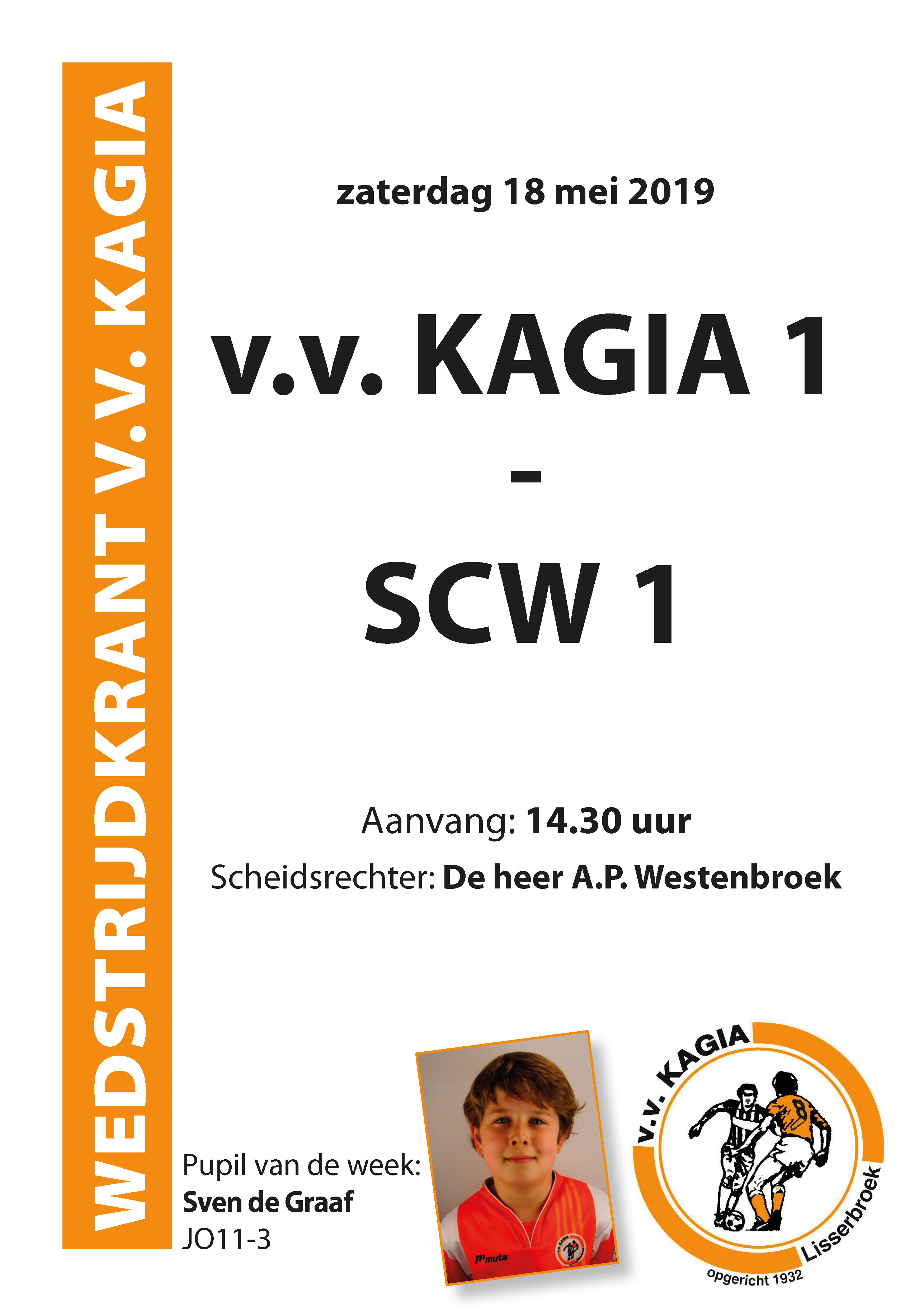 Wedstrijdkrantje | v.v. Kagia 1 – SCW 1
