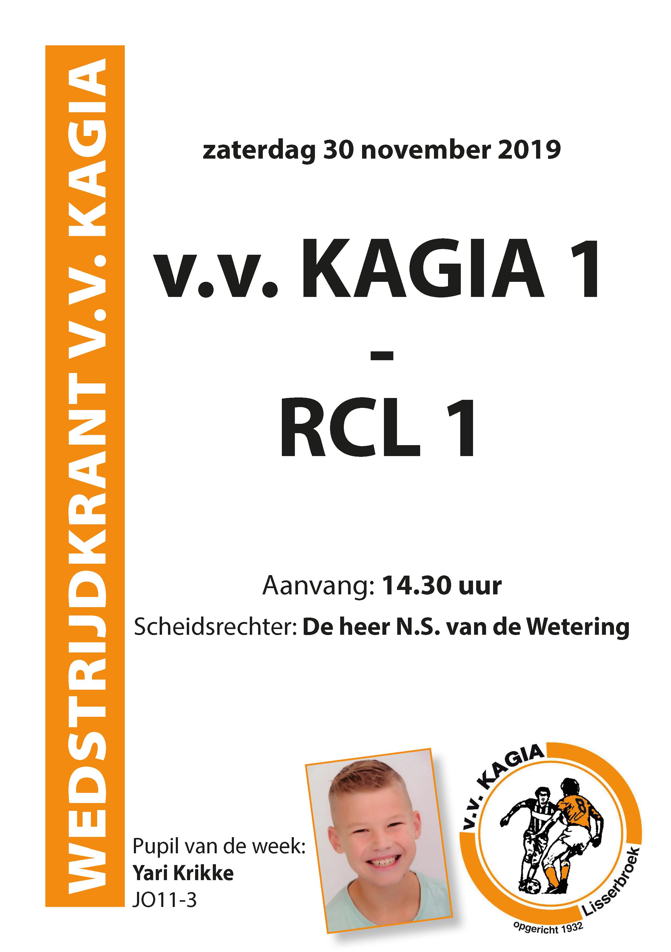 Wedstrijdkrantje | v.v. Kagia 1 – RCL 1