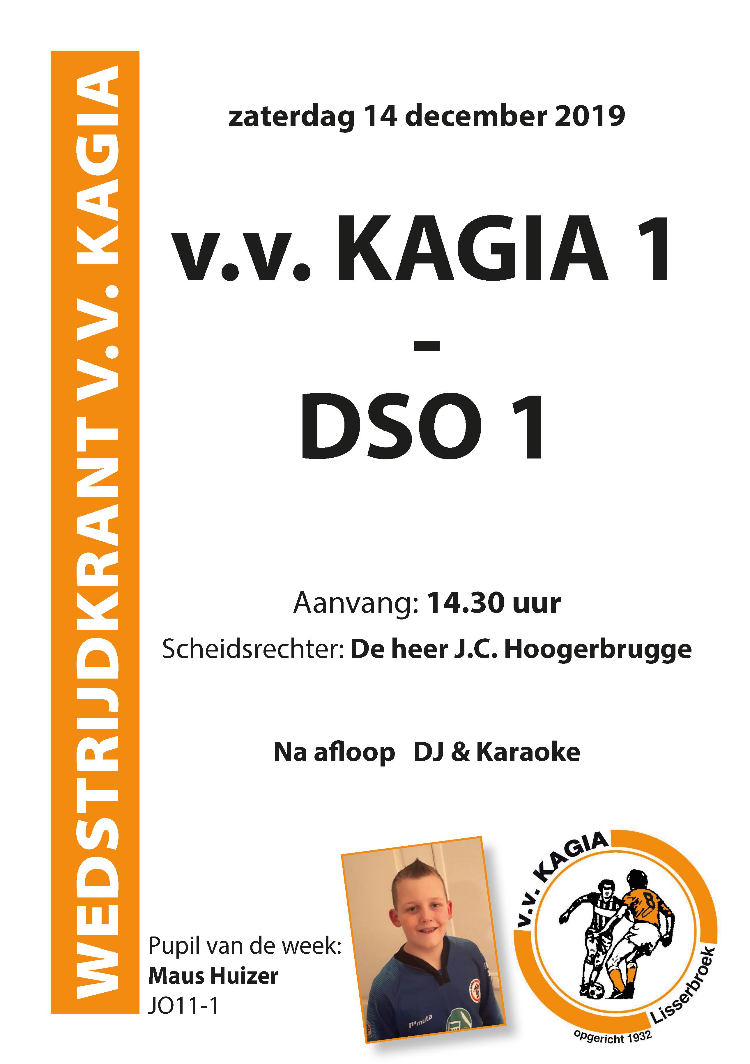 Wedstrijdkrantje | v.v. Kagia 1 – DSO 1
