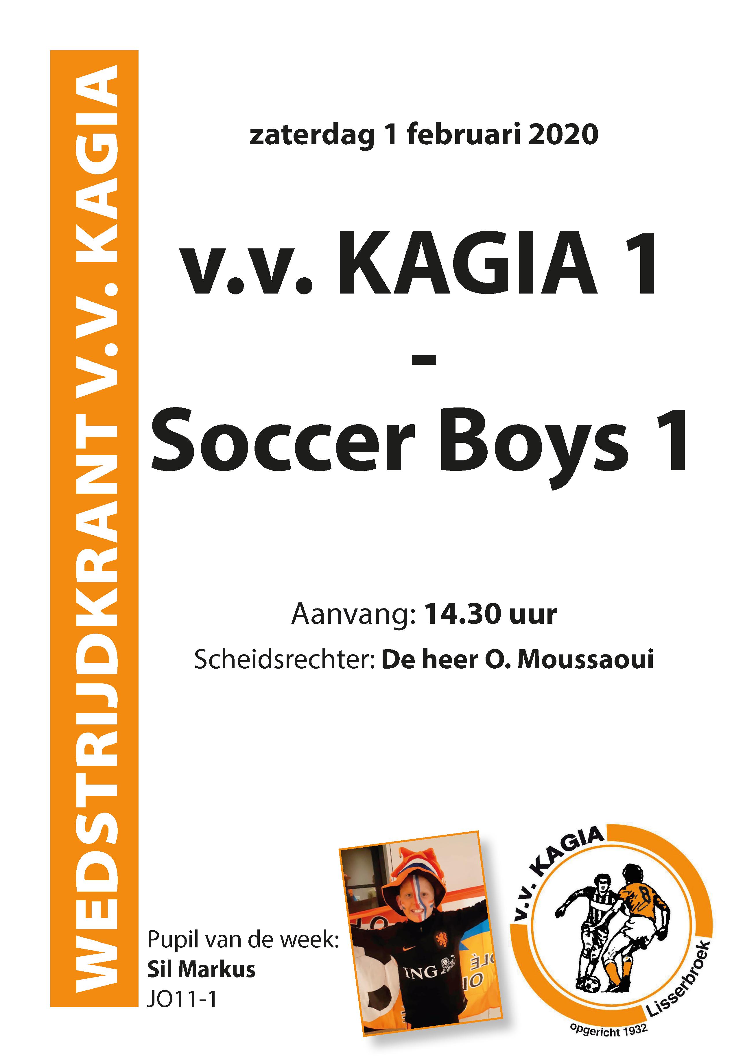 Wedstrijdkrantje | v.v. Kagia 1 – Soccer Boys 1